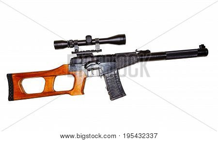modern russian sniper rifle with optic scope isolated on white background