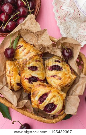 Puff pastry cherry turnovers with cottage cheese and sugar