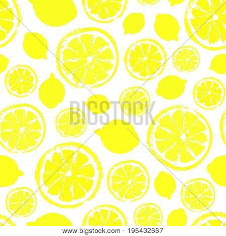 Lemons Background. Fruit Painted Pattern. Seamless chaotic decoration for kitchen wallpaper, poster print, furniture textile, fashion fabric. Bright sliced food. Citrus vector illustration.