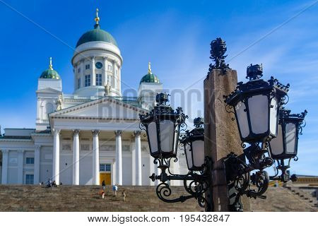 Street Lamp And The Lutheran Cathedral, In Helsinki