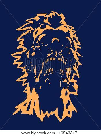 Skull of the angry zombie concept with a torn face. Vector illustration. Terrible character face for halloween. The horror genre.