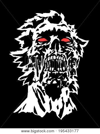 Head of black zombie character concept with a torn face. Dark halloween terrible character face. Vector illustration.