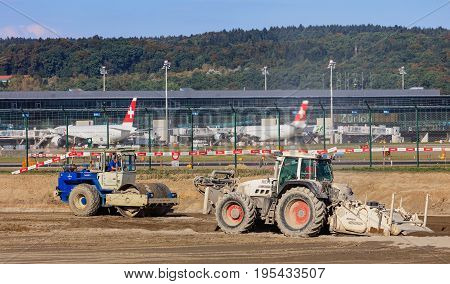 Kloten, Switzerland - 30 September, 2016: construction works at the Zurich Airport. The Zurich Airport, also known as the Kloten Airport, is the largest international airport of Switzerland and the principal hub of Swiss International Air Lines.