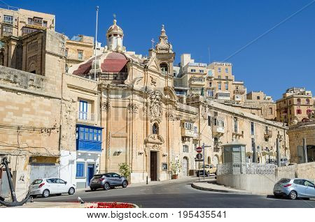 Valletta Malta - June 4 2017: The baroque Church of Our Lady of Liesse near the shores of the Grand Harbour. Built in 1740 it is a Grade 1 national monument and it is listed on the National Inventory of the Cultural Property of the Maltese Islands