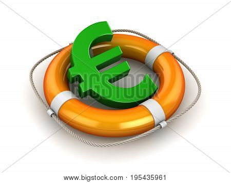 Green Euro Symbol In Lifebuoy