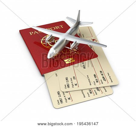 Yellow Boarding Pass With Passport, 3D Illustration Isolated White
