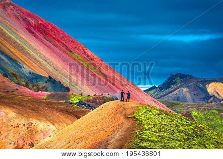 Beautiful Colorful Volcanic Mountains Landmannalaugar In Iceland