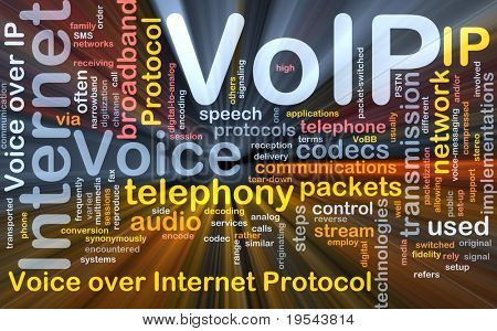Background concept wordcloud illustration of VoIP glowing light
