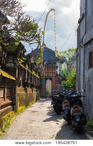 View Of Traditional Narrow Street In Ubud, Bali