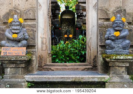 Traditional Guest House Entrance In Ubud, Bali
