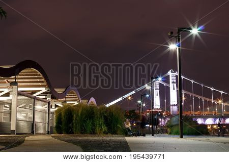 Crimean Embankment, Moscow, Russia Night