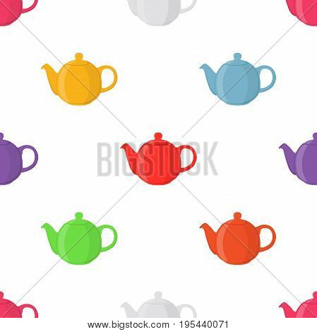 Vector illustration of teapots, seamless pattern. Pottery fictile, clay teakettle. Made in cartoon flat style