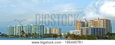 A photo of the skyline of Sarasota Florida as seen from the Ringling Causeway