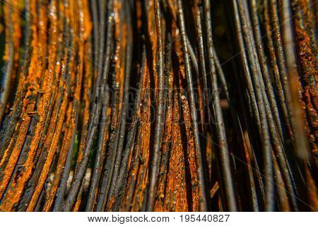 Rusty wire close-up macro texture background