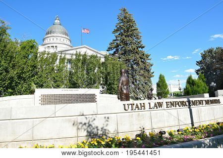 SALT LAKE CITY, UTAH - JUNE 28, 2017:Utah Law Enforcement Memorial. Located at the State Capitol Building it is dedicated to the lives of fallen law-enforcement officers in Utah.