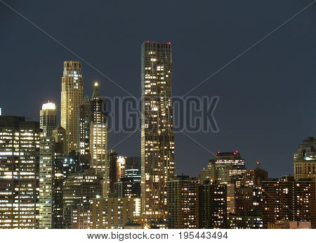 Sky scrapers of New York at night, light buildings