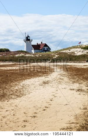 PROVINCETOWN-SEPTEMBER 15: Race Point lighthouse in Provincetown in Cape Cod , Massachussets, USA on September  15, 2014.