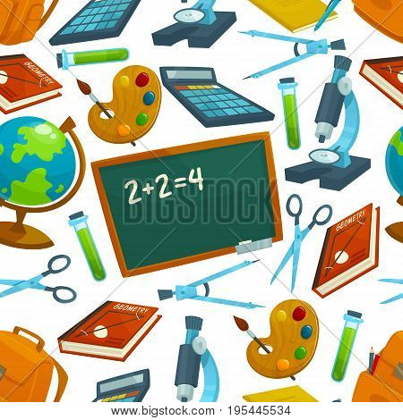 School supplies vector seamless pattern of mathematics formula on school chalkboard, calculator, books and stationery scissors, pen and pencil, paint brush and backpack or biology microscope and globe