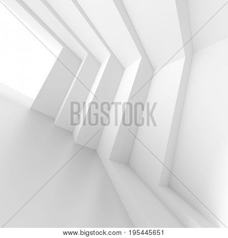 Futuristic Interior Background. White Abstract Living Room Concept. Minimalistic Graphic Design. 3d Rendering