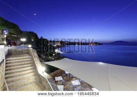 Late night Zakynthos resort panorama from hotel restaurant.