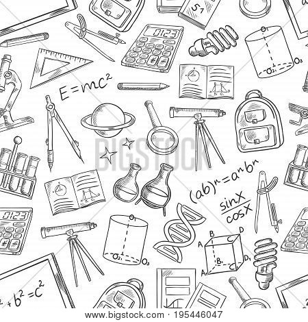School and education supplies sketch seamless pattern. Vector symbols of school books and notepads, astronomy telescope and mathematics equation formula, chemistry beakers and geometry ruler