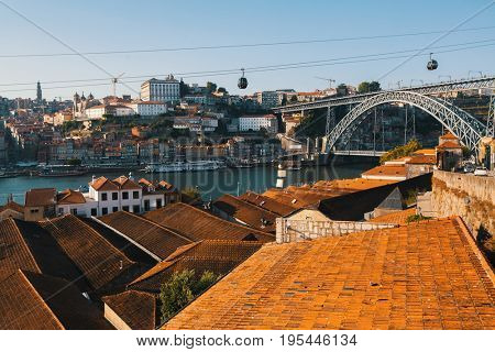 Porto, Portugal, view of Douro river, Ribeira and Dom Luis I bridge from Vila Nova de Gaia.