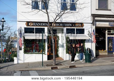 PETOSKEY, MICHIGAN / UNITED STATES - NOVEMBER 22, 2016: One may purchase gifts at Grandpa Shorter's Gift Shop, on Lake Street in downtown Petoskey.