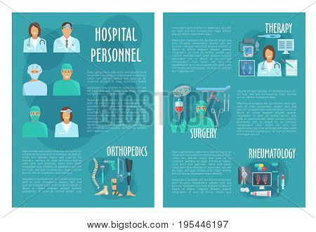 Hospital personnel doctors of therapy, orthopedics, rheumatology and surgery. Vector medical brochure of healthcare medicine pills, x-ray or syringe, stethoscope, thermometer and spine or foot joint