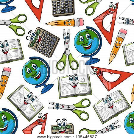 School cartoon smile supplies seamless pattern. Vector comic characters of globe map, notepad or school book, ruler and scissors, pen or pencil eraser and calculator. Back to school concept pattern