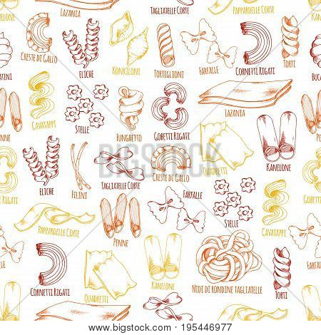 Pasta seamless pattern sketch design of Italian pasta sorts and names. Vector farfalle, ravioli and konkiloni or spaghetti, lasagna, pappardelle and fettuccine or tagliatelle for restaurant