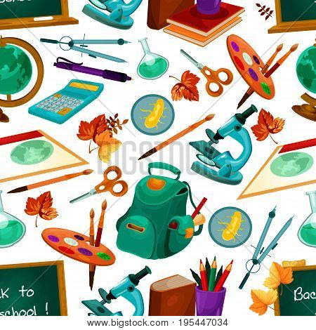 Back to School seamless pattern of vector school supplies, backpack and biology microscope, geometry pencil and ruler, drawing brush paint and formula on chalkboard or blackboard and autumn leaf