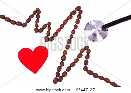 Cardiogram Line Made Of Coffee Grains, Red Heart And Stethoscope, Health Care Concept