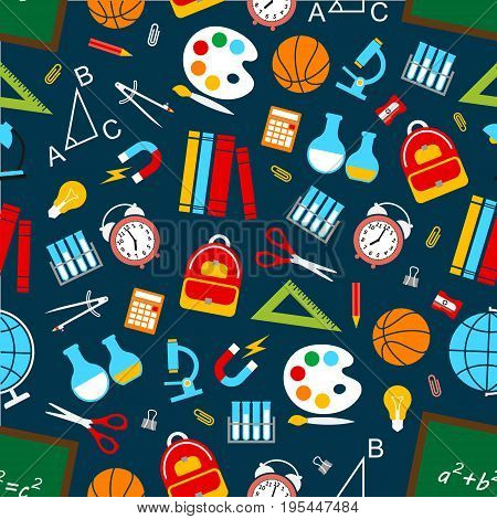 School and education supplies seamless pattern. Vector symbols of science and knowledge books and equation formula, chemistry beaker and astronomy planet globe, mathematics numbers and physics tests
