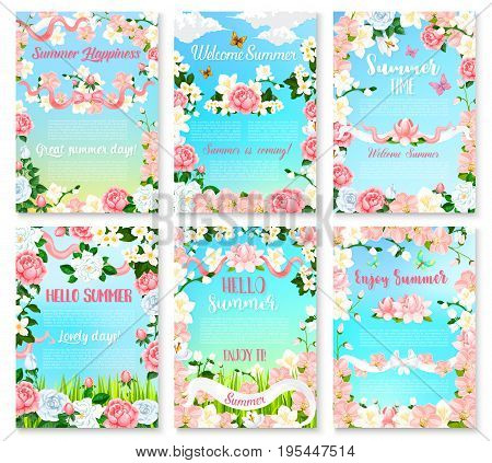 Hello Summer floral banner set. Summer season holidays greeting poster with flower frame of rose, orchid, peony, lily and jasmine branches with green leaf and floral bud, adorned with ribbons