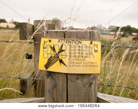 A Safety Sign on Farm Electric Fence; Essex; UK