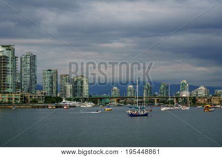 Vancouver Canada - June 13, 2017 Buildings in Downtown Vancouver near False Creek