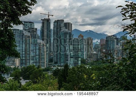 Vancouver Canada - June 20, 2017 Buildings in Downtown Vancouver