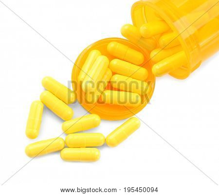 Health care concept. Pills and jar on white background