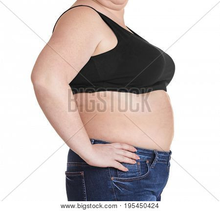 Stout adult woman on white background.  Weight loss concept