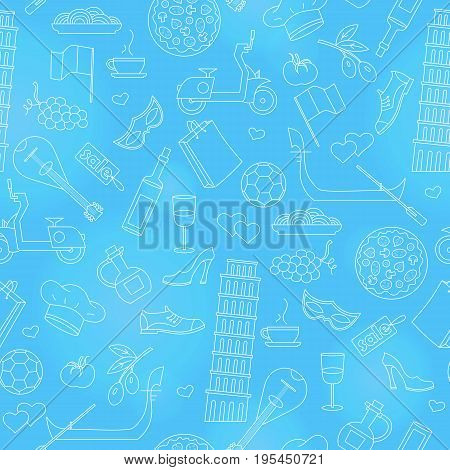 Seamless pattern on the theme of journey in the country of Italy simple contour icons on blue background