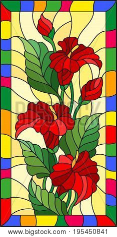 Illustration in stained glass style with flowers buds and leaves of Calla flower in a bright frame