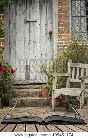 Typical Quintessential Old English Country Garden Image Of Wooden Chair Next To Vintage Back Door Co