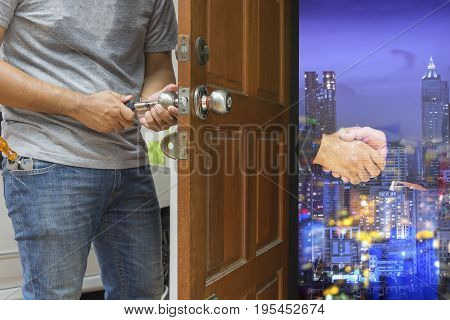 locksmith open the wood door to commitment double exposure - can use to display or montage on product