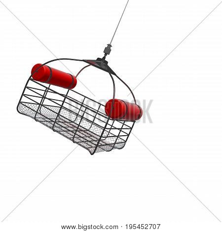3d illustration of lowering a rescue basket from helicopter isolated.