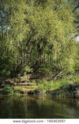 Beautiful Vibrant English Countryside River Landscape With Shallow Depth Of Field
