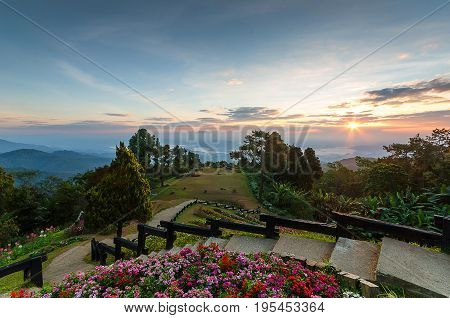 Background blur Huai Nam Dang is a vantage point to see the sunrise.In Thailand.