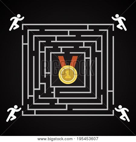 Race for the 1st place labyrinth - man run for the 1st place - background template