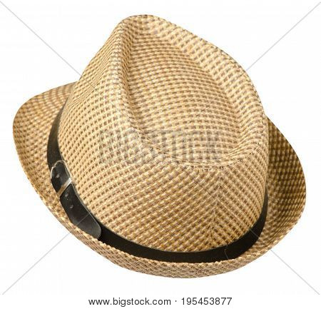 Hat With A Brim .hat Isolated On White Background.beige Hat