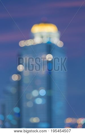 City building blurred bokeh light vintage town abstract background