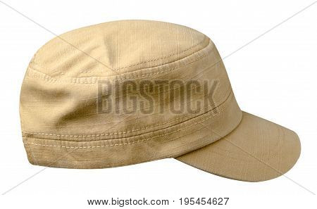Cap Isolated On White Background. Cap With A Visor . Beige Cap